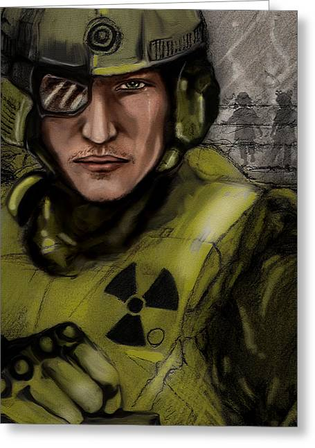 Child Soldier Drawings Greeting Cards - Never forget Greeting Card by April Lily