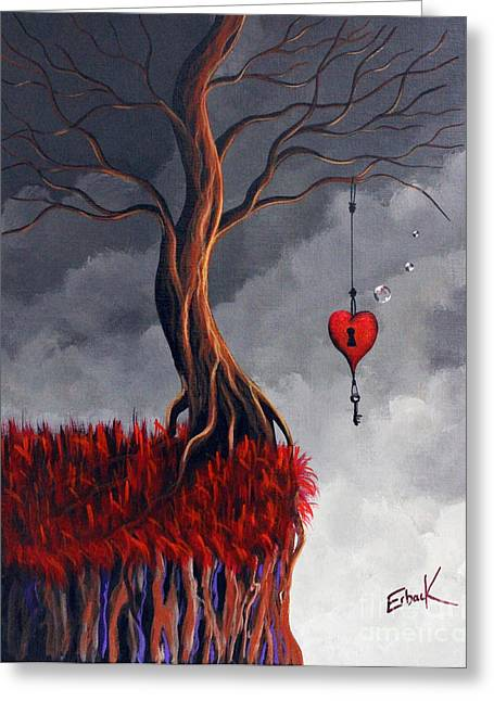 Surreal Fantasy Trees Landscape Greeting Cards - Never Letting Go Greeting Card by Shawna Erback