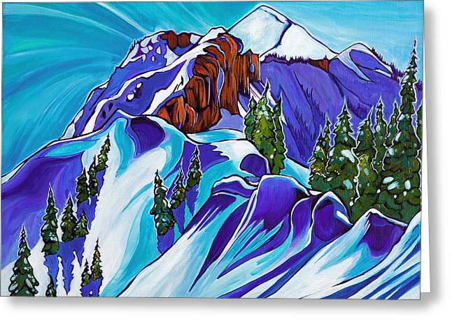 Ski Art Greeting Cards - Never Never Greeting Card by Rachel Pohl
