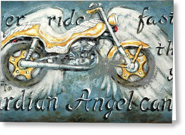 Angel Blues Greeting Cards - Never Ride Faster Than Your Guardian Angel Can Fly Greeting Card by Janet  Kruskamp