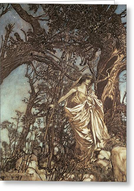 Twirl Greeting Cards - Never so weary never so woeful illustration to A Midsummer Night s Dream Greeting Card by Arthur Rackham