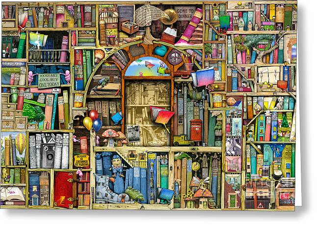 Humorous Greeting Cards - Neverending Stories Greeting Card by Colin Thompson