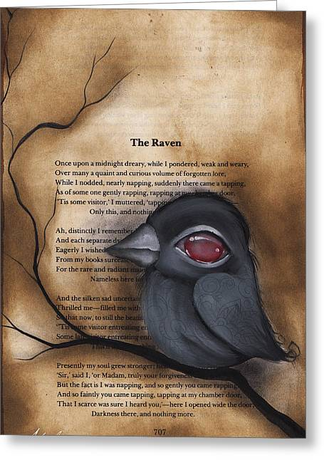 The Ravens Greeting Cards - Nevermore #1 Greeting Card by  Abril Andrade Griffith