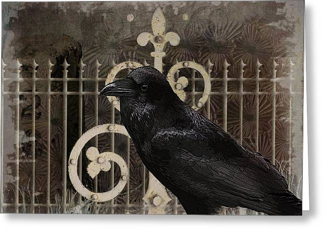 Creepy Digital Art Greeting Cards - Nevermore Greeting Card by Terry Fleckney