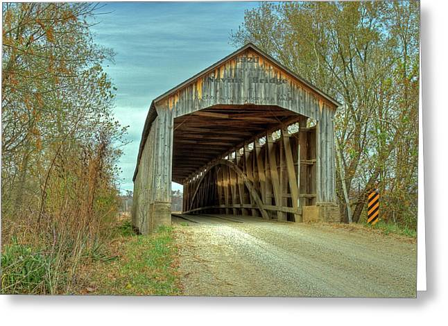 Nevins Covered Bridge Greeting Card by Jack R Perry
