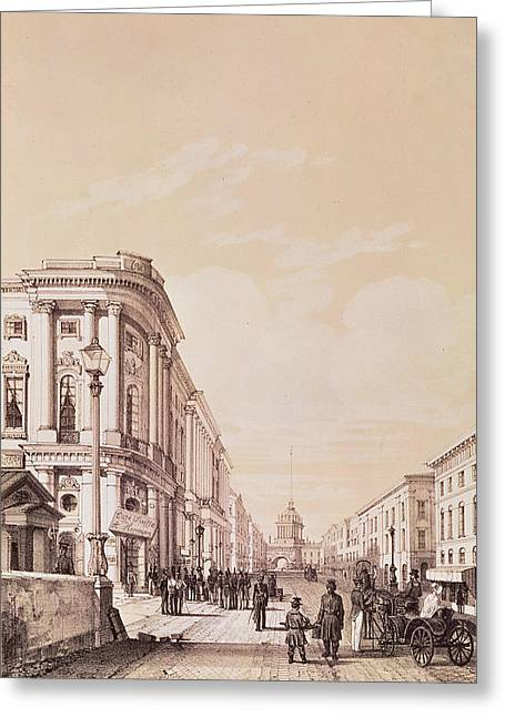 Hermann Greeting Cards - Nevsky Prospekt, St. Petersburg, Illustration From Voyage Pittoresque En Russie, 1843 Engraving Greeting Card by Andre Durand