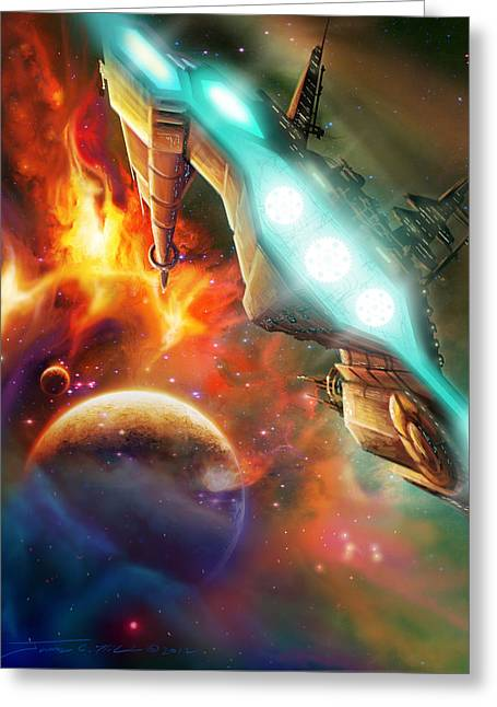 Interstellar Space Paintings Greeting Cards - Nevtar Stardrive Greeting Card by James Christopher Hill