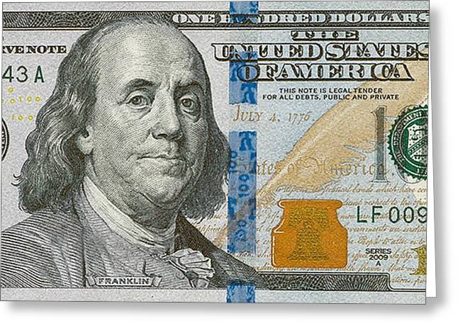2009 Digital Art Greeting Cards - New 2009 Series One Hundred US Dollar Bill Greeting Card by Serge Averbukh