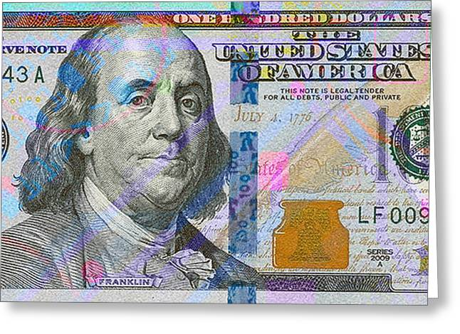 2009 Digital Art Greeting Cards - New 2009 Series Pop Art Colorized US One Hundred Dollar Bill  v.2.0 Greeting Card by Serge Averbukh