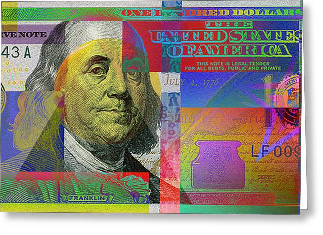 2009 Digital Art Greeting Cards - New 2009 Series Pop Art Colorized US One Hundred Dollar Bill  v.3.0 Greeting Card by Serge Averbukh