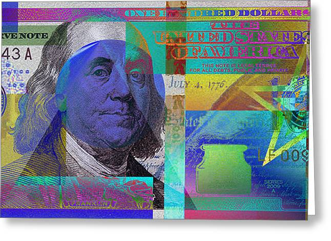 2009 Digital Art Greeting Cards - New 2009 Series Pop Art Colorized US One Hundred Dollar Bill  v.3.1 Greeting Card by Serge Averbukh
