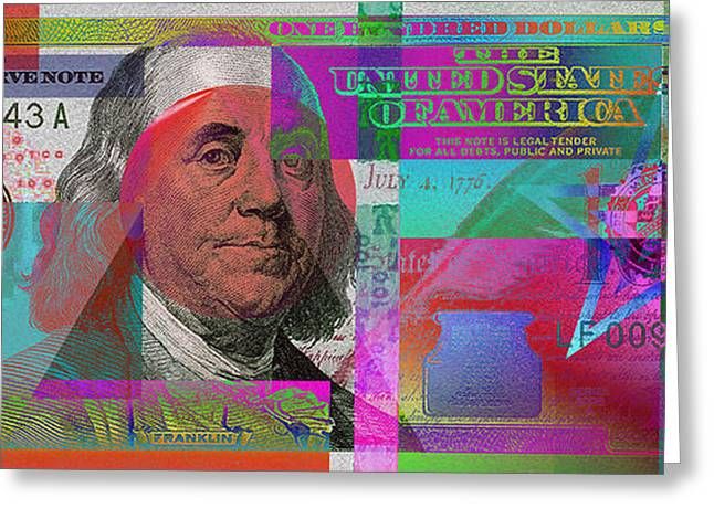 New 2009 Series Pop Art Colorized Us One Hundred Dollar Bill  V.3.2 Greeting Card by Serge Averbukh