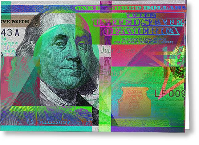 2009 Digital Art Greeting Cards - New 2009 Series Pop Art Colorized US One Hundred Dollar Bill  v.3.3 Greeting Card by Serge Averbukh