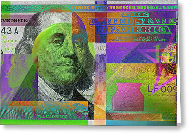 2009 Digital Art Greeting Cards - New 2009 Series Pop Art Colorized US One Hundred Dollar Bill  v.3.4 Greeting Card by Serge Averbukh