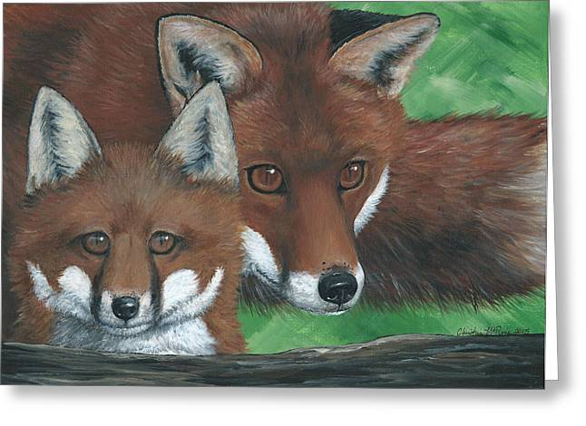Fox Kit Paintings Greeting Cards - New Adventure Greeting Card by Christine StPierre