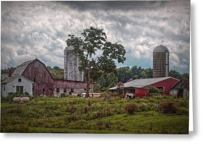 Amish Farms Greeting Cards - New and Old Barn Greeting Card by Linda Unger