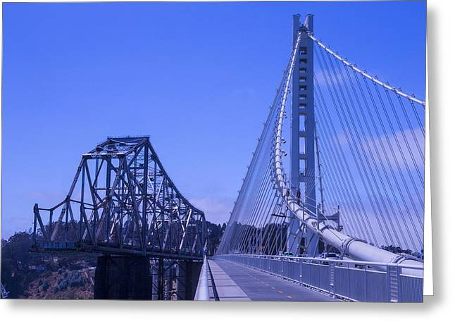 Dismantled Greeting Cards - New and Old Bay Bridge Greeting Card by Garry Gay