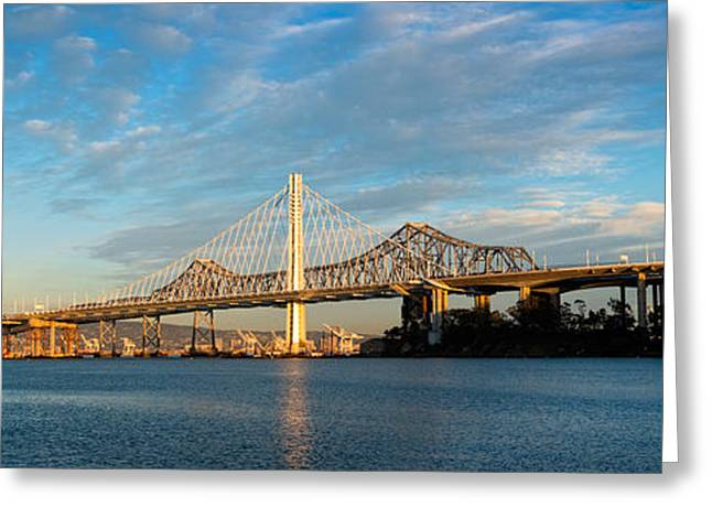 San Francisco Bay Greeting Cards - New And Old Eastern Span Greeting Card by Panoramic Images