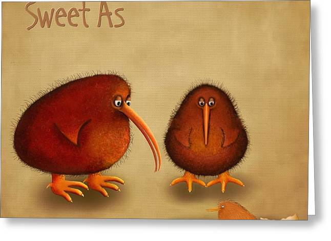 Kiwis Greeting Cards - New arrival. Kiwi bird - Sweet as - boy Greeting Card by Marlene Watson