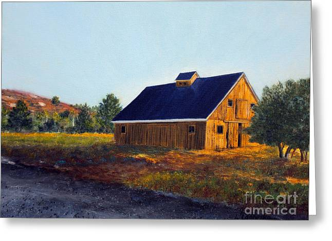 Maine Farms Paintings Greeting Cards - New Barn Greeting Card by Laura Tasheiko