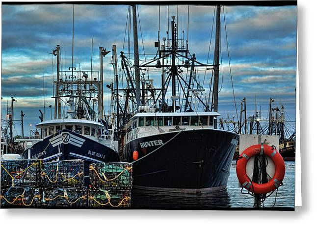 Water Greeting Cards - New Bedford Boats Greeting Card by Jes Fritze