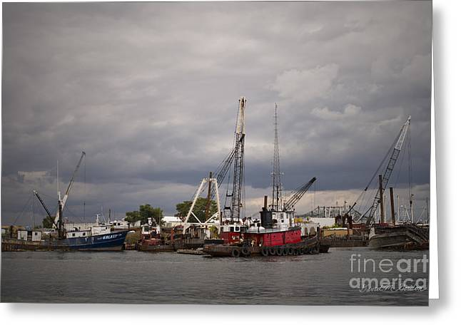 Chromatic Greeting Cards - New Bedford Waterfront XVI Greeting Card by David Gordon