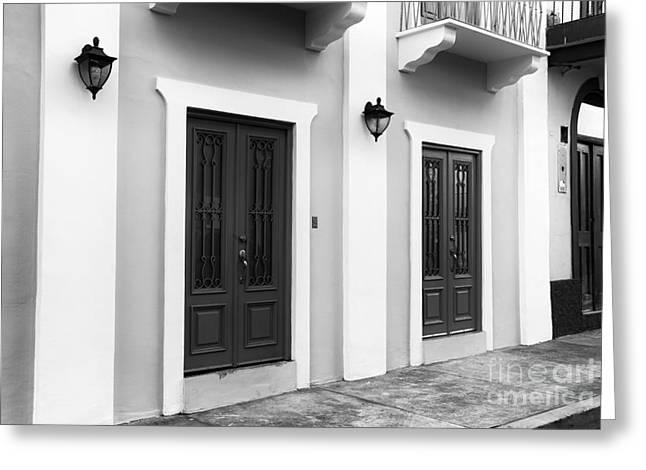 New Beginnings Greeting Cards - New Beginning in Casco Viejo mono Greeting Card by John Rizzuto