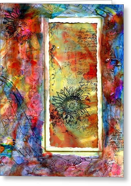 Pouring Mixed Media Greeting Cards - New beginnings card Greeting Card by Cassandra Donnelly