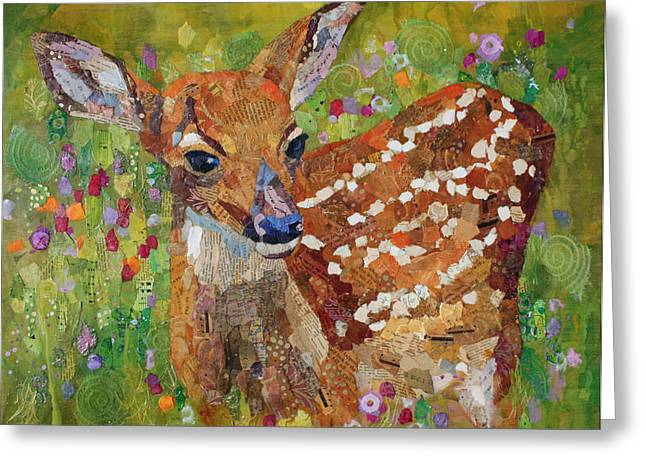 Fawn Mixed Media Greeting Cards - New Beginnings Greeting Card by Crystal Manning