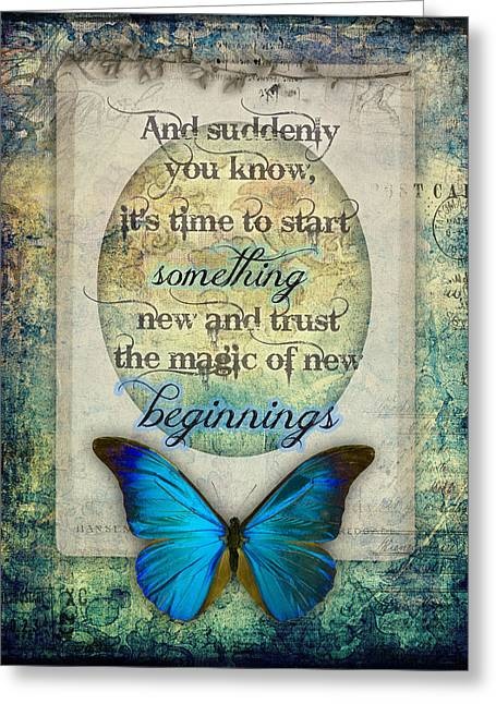Change Mixed Media Greeting Cards - New Beginnings Greeting Card by Jessica Galbreth