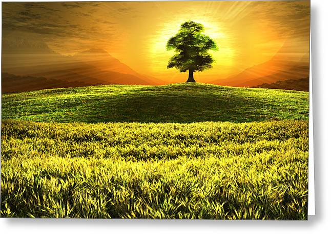 Wheat Field Sunset Print Greeting Cards - New Beginnings Greeting Card by John Robichaud