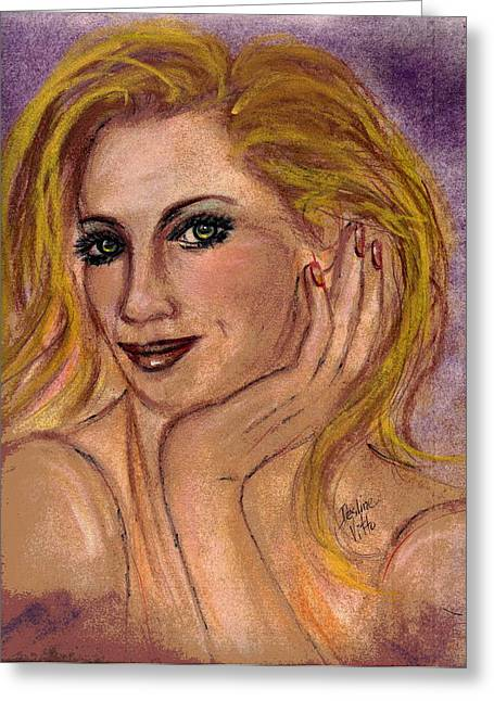 Red Lips Pastels Greeting Cards - New Blond Greeting Card by Desline Vitto