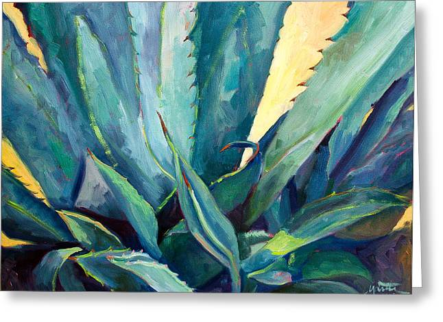 Succulents Greeting Cards - New Blue Agave Greeting Card by Athena  Mantle