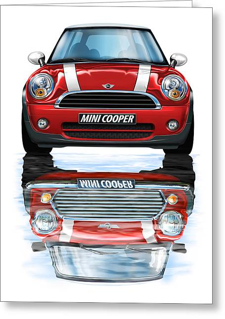 David Kyte Greeting Cards - New BMW Mini Cooper Red Greeting Card by David Kyte