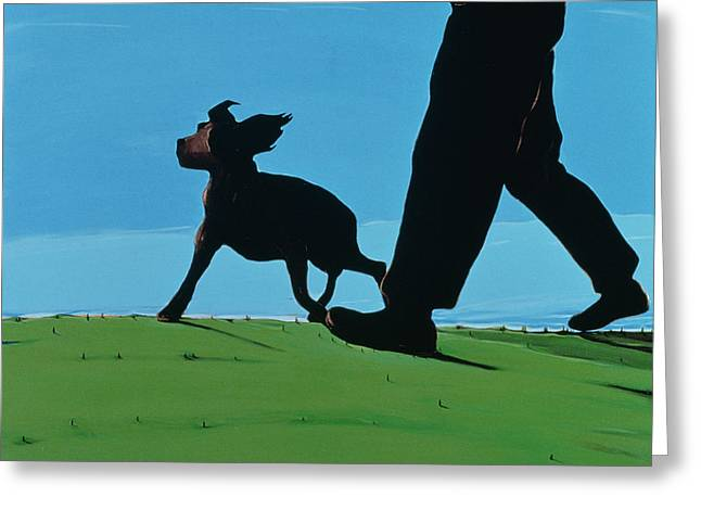 Walking Dogs Greeting Cards - New Boys In Town, 1997 Greeting Card by Marjorie Weiss