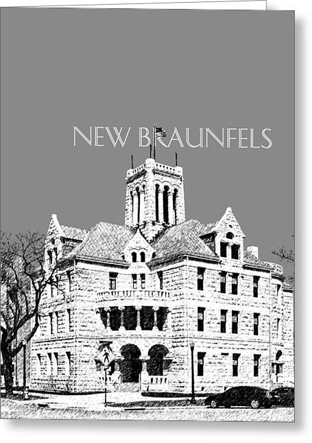 Texas Architecture Greeting Cards - New Braunfels Skyline - Pewter Greeting Card by DB Artist