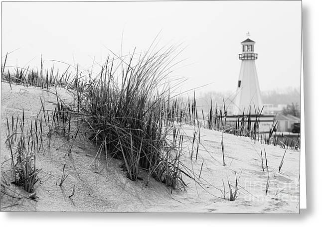 Black And White Photos Greeting Cards - New Buffalo Michigan Lighthouse and Beach Grass Greeting Card by Paul Velgos
