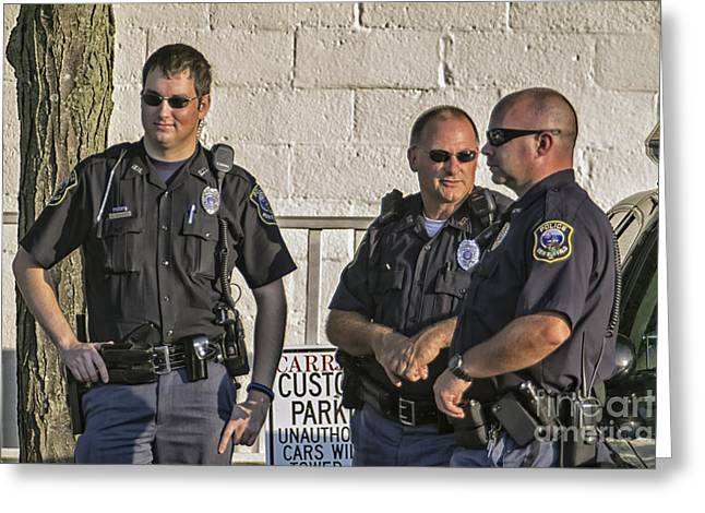 Police Talking Greeting Cards - New Buffalos Finest Greeting Card by Christopher Purcell