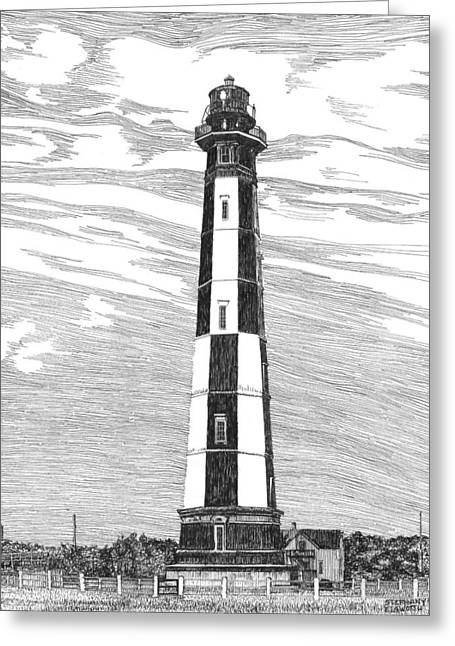 Hamptons Drawings Greeting Cards - New Cape Henry Lighthouse Greeting Card by Stephany Elsworth
