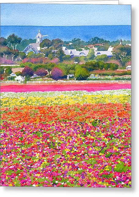 Ranunculus Greeting Cards - New Carlsbad Flower Fields Greeting Card by Mary Helmreich