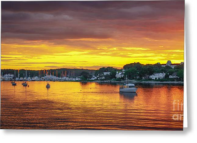 Lobsterboat Greeting Cards - New Castle Sunset Greeting Card by Scott Thorp