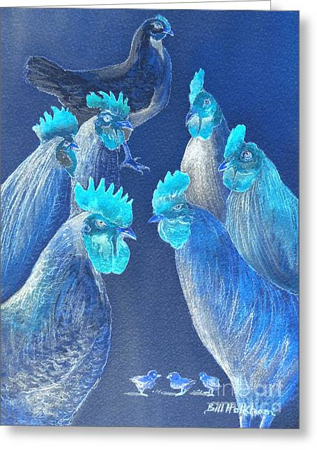 Roost Greeting Cards - New Chick On The Block In Blue Greeting Card by Bill Holkham