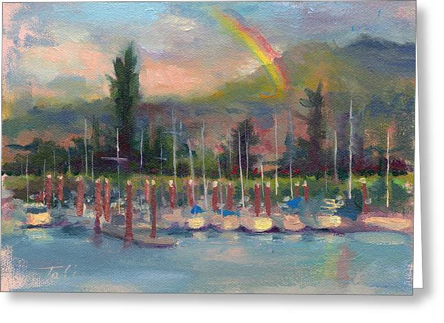 Brushwork Greeting Cards - New Covenant - rainbow over marina Greeting Card by Talya Johnson
