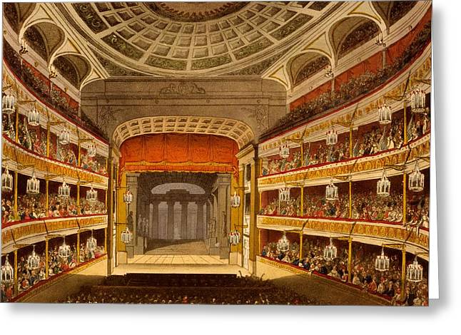 New Stage Greeting Cards - New Covent Garden Theatre Greeting Card by T. & Pugin, A.C. Rowlandson