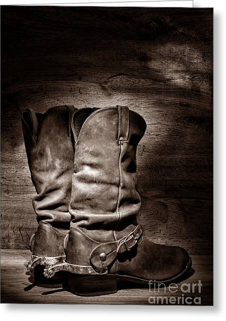 Black Boots Greeting Cards - New Cowboy Boots Greeting Card by American West Legend By Olivier Le Queinec