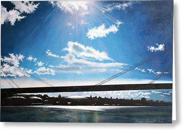 New Dawn Above The New Bridge Greeting Card by Mirko Sikimic