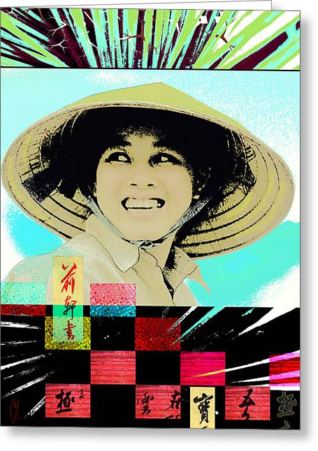 Chinese Peasant Greeting Cards - New Dawn Greeting Card by Maria Jesus Hernandez
