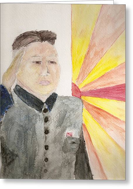 Kim Jong Un Greeting Cards - New Dawn Greeting Card by Rob Spencer