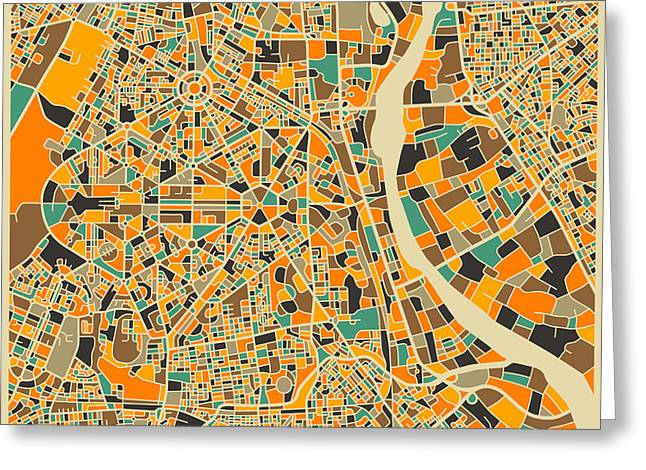 Modern Artist Greeting Cards - New Delhi Map Greeting Card by Jazzberry Blue