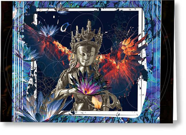 Hindu Goddess Digital Greeting Cards - New Eagle Greeting Card by Niky Rahner